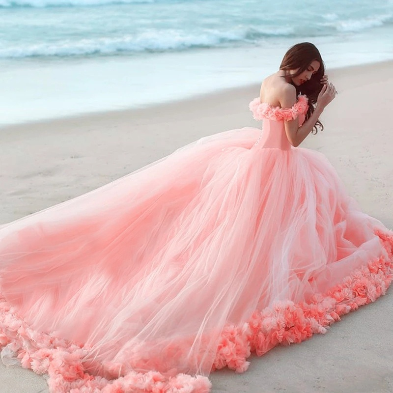New Arrival High Quality Women's Fashion Off Shoulder Tulle Flower Wedding Dresses Ball Gowns Party Dress Beach Dress