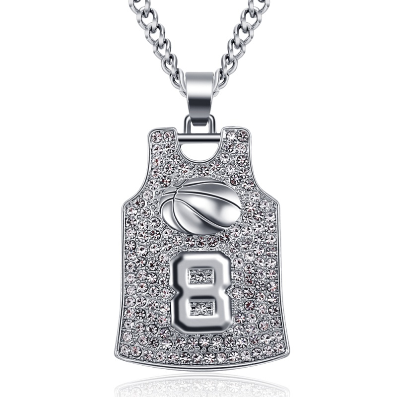 Men Luxury Diamond Jersey Pendant Necklace 24K Gold Chain Hip Hop Necklace Fashion Jewelry Basketball Necklaces Gift