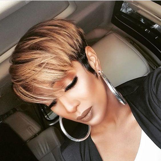 LunaWigs C04 Short Pixie Cut Straight Layered for Black Women