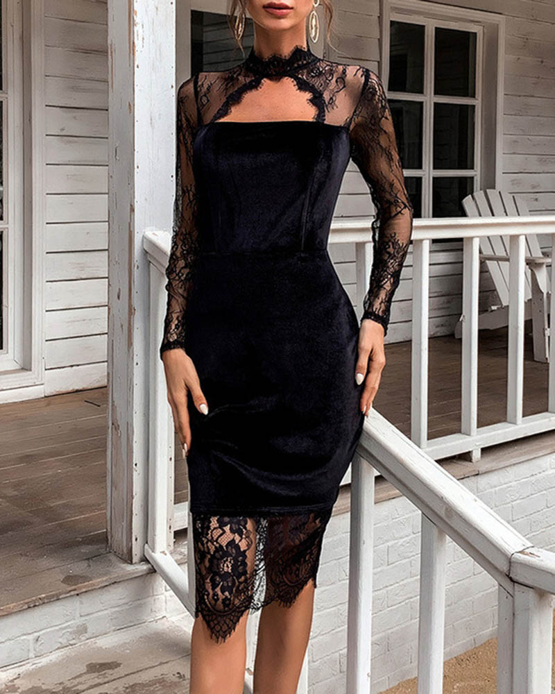 Sexy Perspective Lace Stitching Gold Velvet Evening Dress