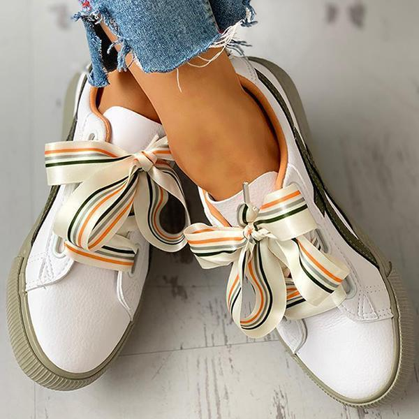 Zoeyootd Colorful Ribbon Lace-Up Casual Sneakers