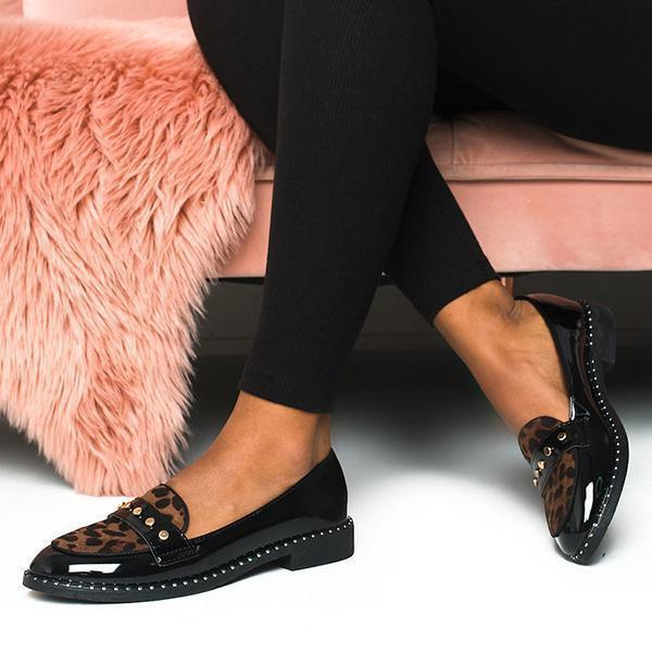 Bonnieshoes Fashion Patent Leopard Flat Loafers