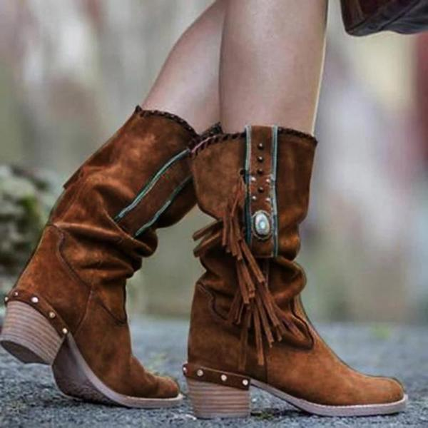 Upawear Women Fringed Round Toe Low Heel Boots