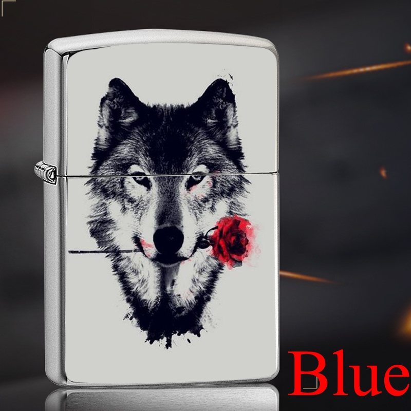 Retro Wolf Metal Kerosene Oil Lighter Refillable Cigarette Metal Retro Lighters Men gifts Outdoor Survival Camping Tool Accessories(Not Contain Kerosene)