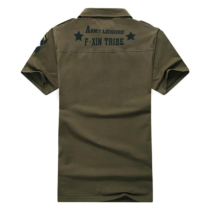 Military Cotton Slip Lapel Short Sleeve Men's T-shirt