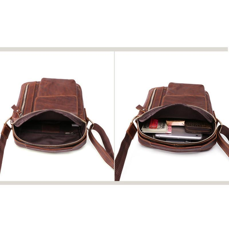 Men's Genuine Leather Large Capacity Crossbody Bag