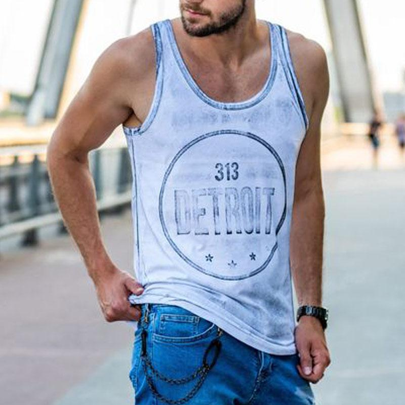 Retro Letter Printed Casual Fitness Vest