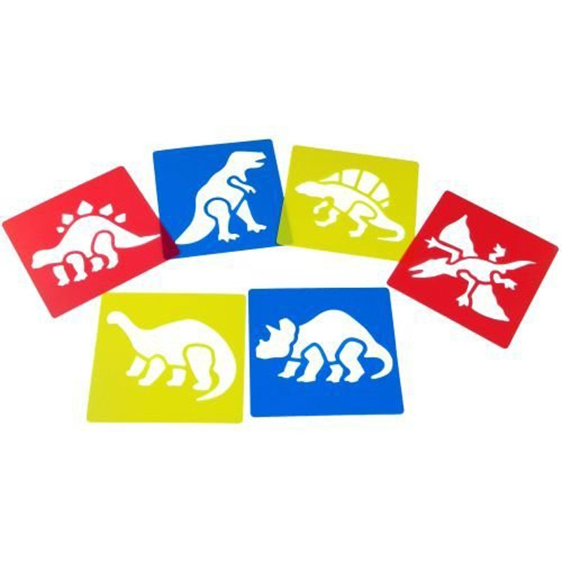 6Pcs Plastic Dinosaur Picture Drawing Template Stencils Rulers Painting Kids DIY