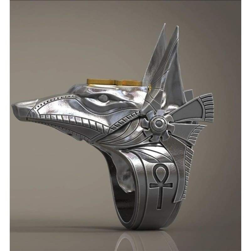 New 925 sterling silver Egyptian god Anubis god and wolf head ring 7-13