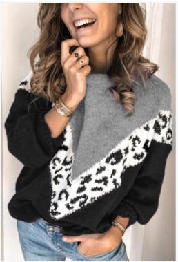 Sweater(Plus Size)Printed leopard sweater