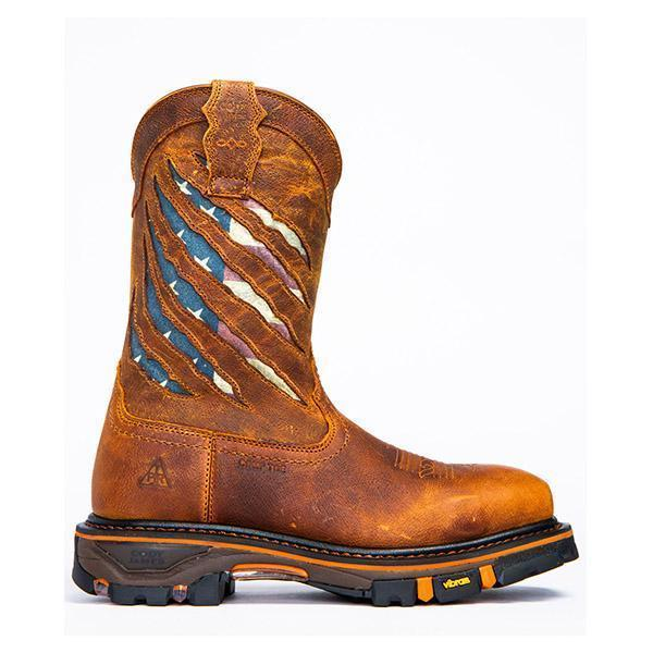 Women's Composite Toe Ripped Flag Western Work Boots