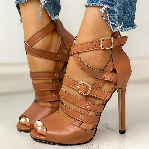 Mokoshoes Solid Hollow Out Ankle Strap Thin Heeled Sandals