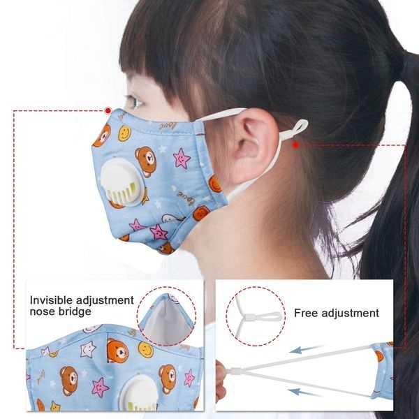 Kids Cotton PM2.5 Anti-smog Anti-Dust, Smoke, Gas and Allergies Adjustable and Reusable Masks Activated Carbon Mask Protection with 10 Filters