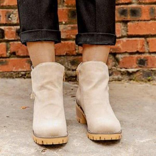 Bonnieshoes Women Vintage Casual Low-Heeled Ankle Boots