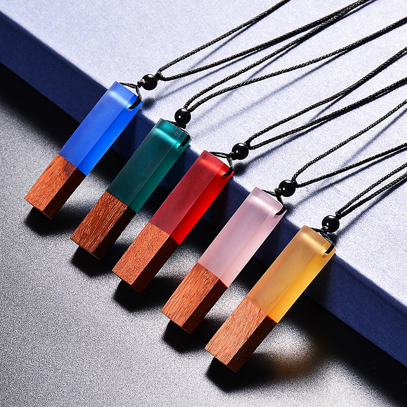 Colorful Wood Resin Necklace