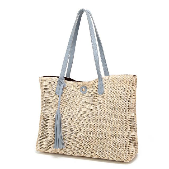 Soft Casual Summer Handbags Beach Straw Tote Bags Large Capacity