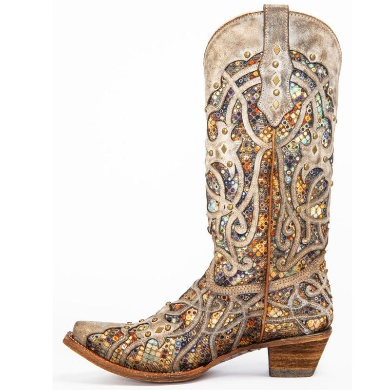 Women's Rhinestone Hollow Wedding Boots Western Boots