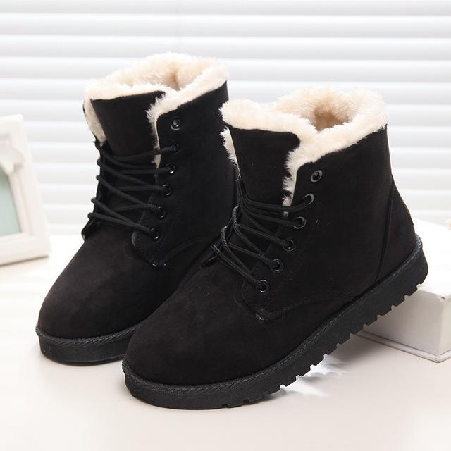 Women Winter Snow Boots Suede Ankle High Warm Fur Boots 5 Colors