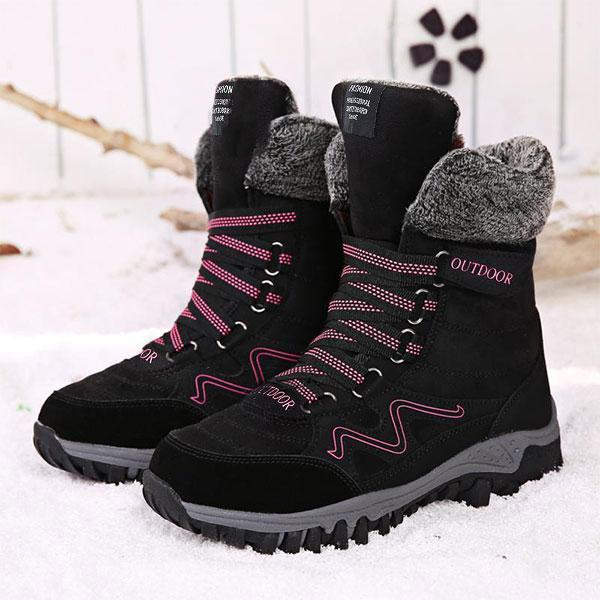 Women's High Wedge Water-resistant Warm Plush Hiking Boots