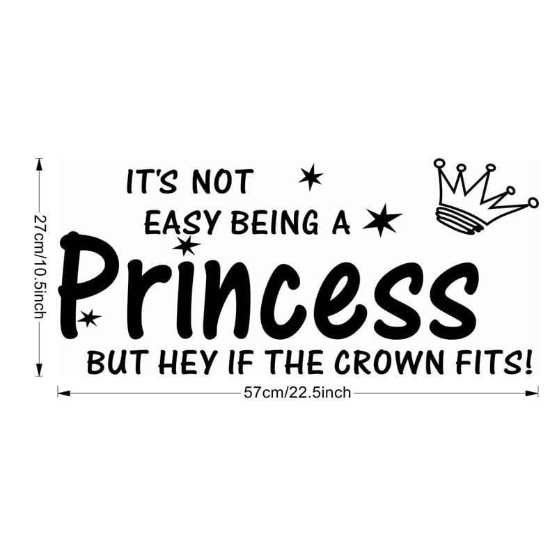 The Princess sleeps here Wall Say Quote Word Letters Sticker Home Decorator BM