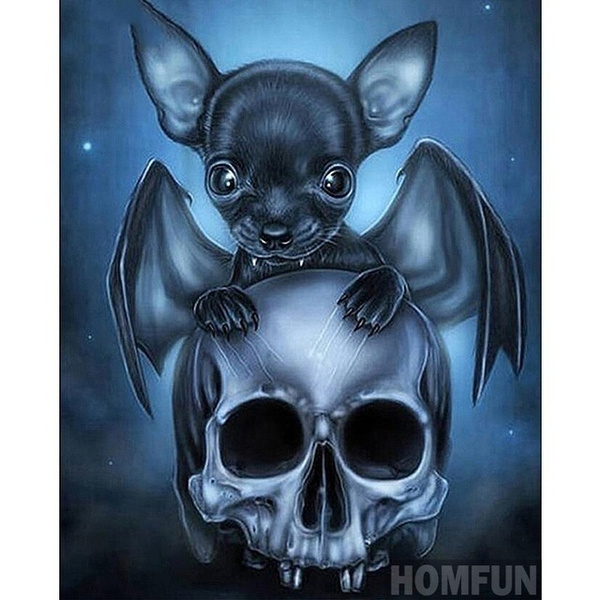 5D DIY Full Diamond Painting Cross Stitch Bats and Skull Picture Mosaic Painting Diamond Embroidery Home Decor