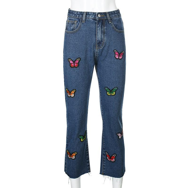 High Waist Butterfly Embroidered Jeans