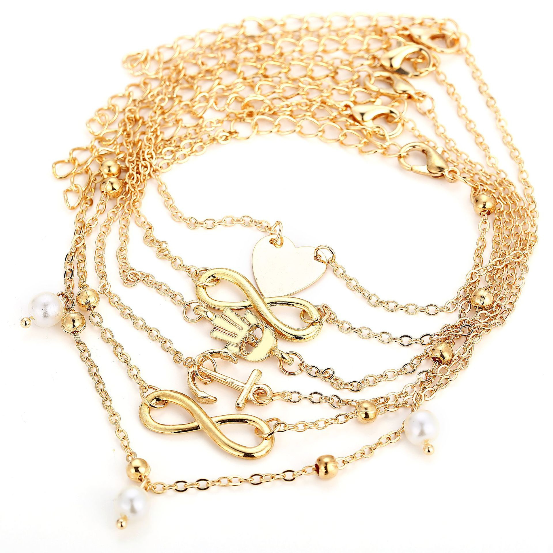 Seaside Beach Anklet Multilayer Ankle Bracelet Alloy Foot Chain Women Fashion Accessories
