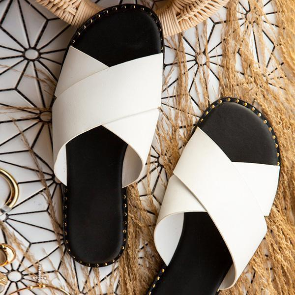 Zoeyootd Strap Crossover Detail Cushioned Insole Slippers