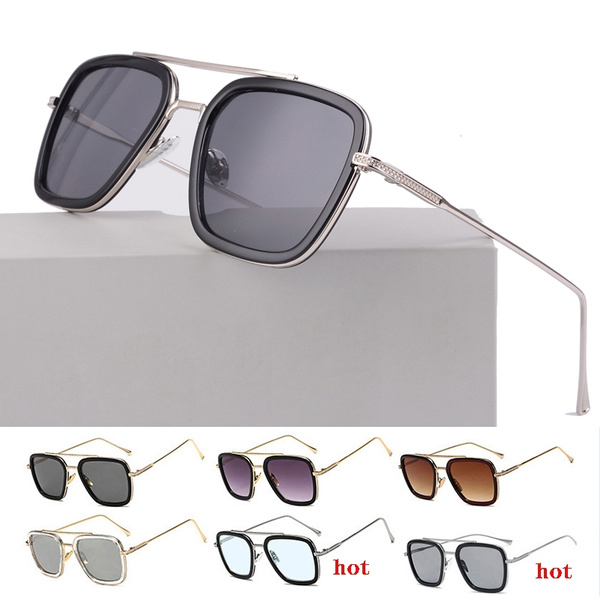 9 Colors Man Square Sunglasses Light Blue Metal Gradient Sun Glasses Retro Shades UV Protection Sunglasses NO BOX