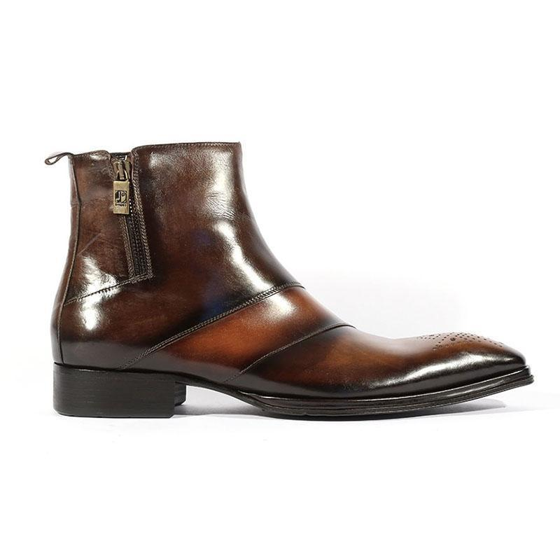 Men's Leather Pointed Toe Zipper Chelsea Boots