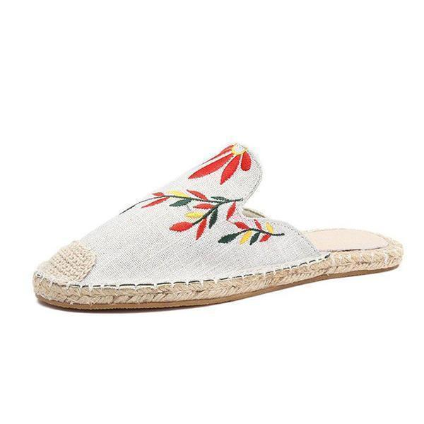 Upawear Fashion Embroidered Espadrille Flat Slippers