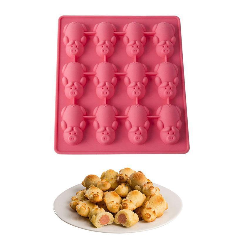 BREEZYLIVE 12 Little Pigs in a Blanket Non Stick BPA Silicone Baking Mold