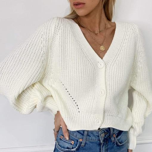 Women's V-neck lantern sleeves knitted sweater loose button cardigan sweater