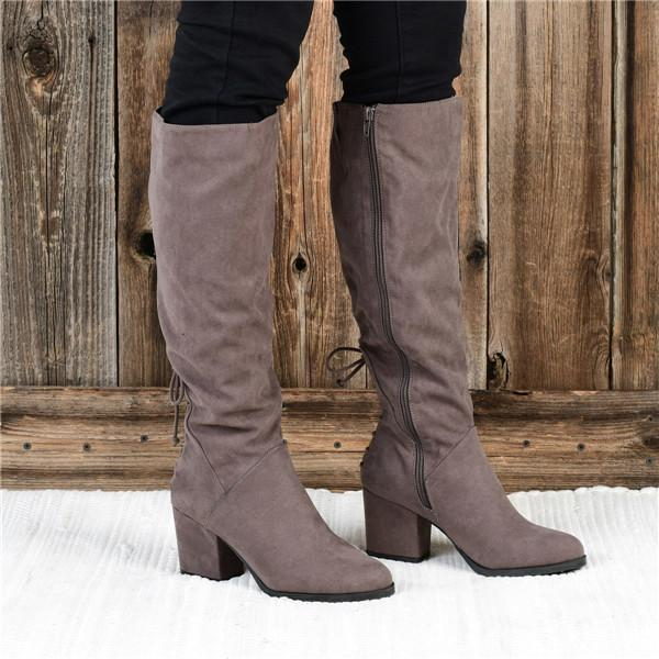 Mokoshoes Winter Suede Low Heel Daily Boots