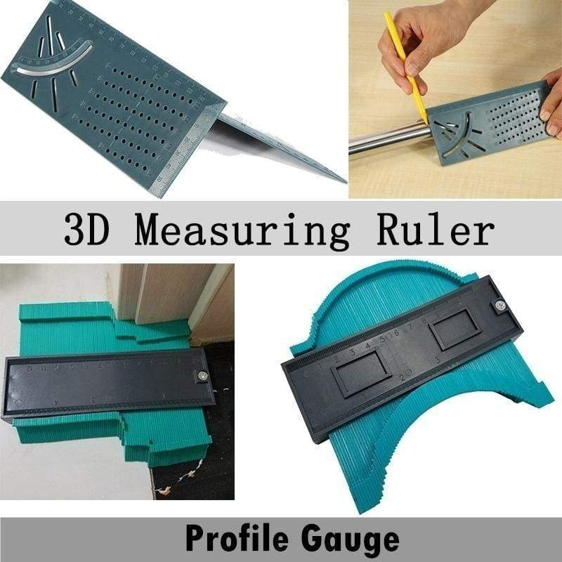 5-Inch Plastic Contour Gauge Duplicator Copy Irregular Shapes 3D Mitre Measuring Ruler 45/90 Degree Angles Measure Tool