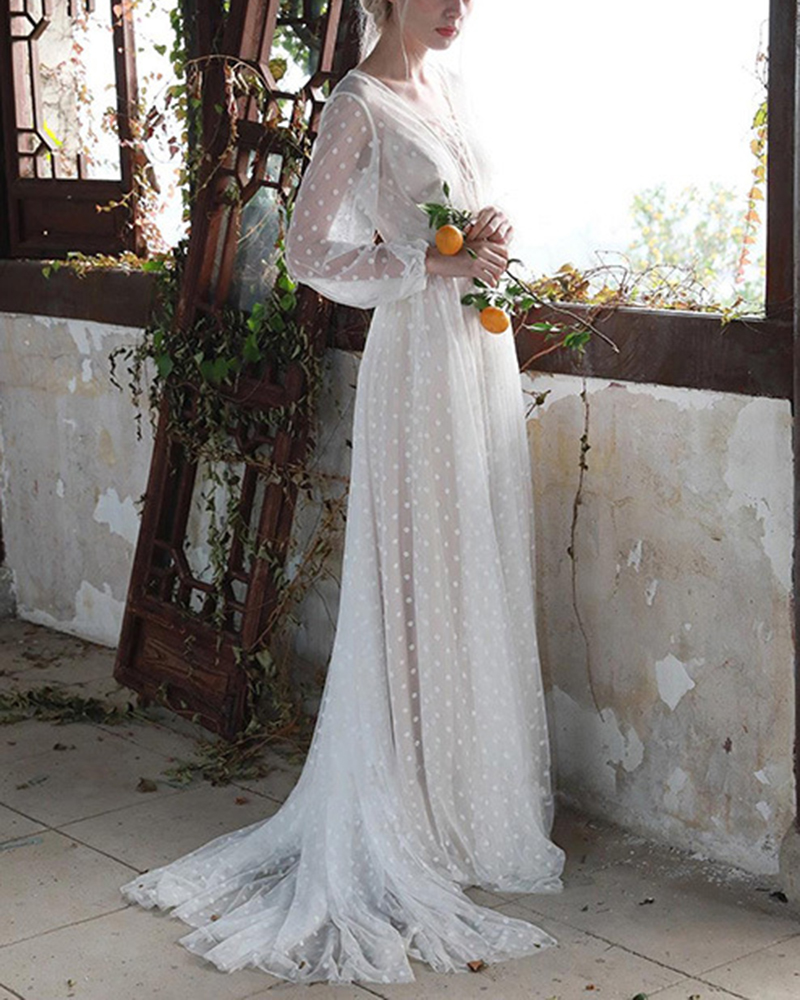 Long Sleeve Mesh Polka Dot Lace Wedding Evening Dress