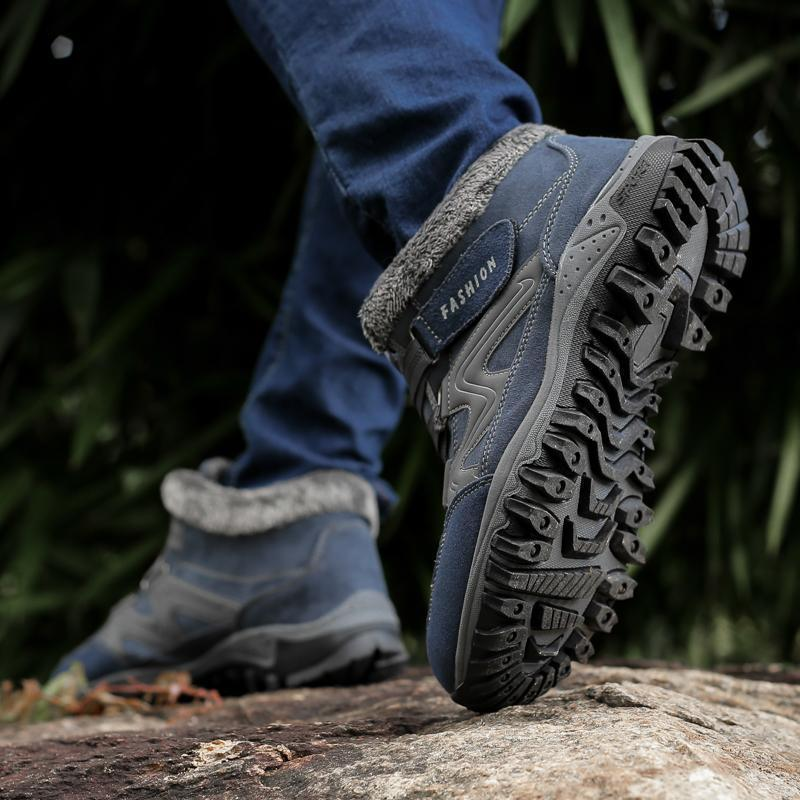 Men's winter thermal velvet velcro buckle trendy joker hiking sneakers