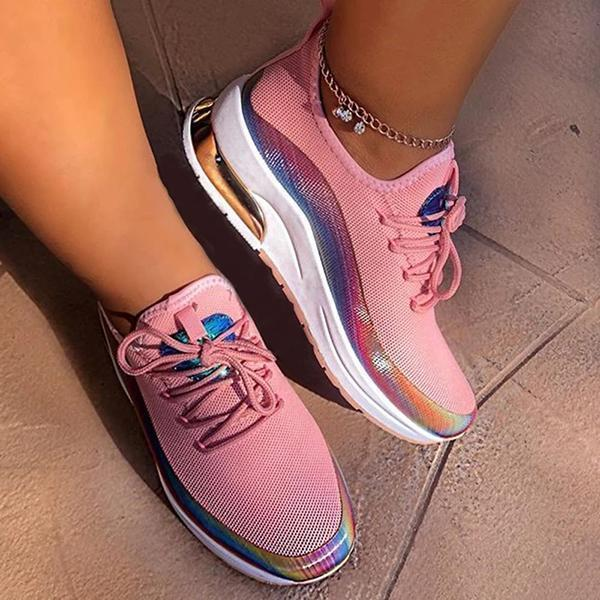 Upawear Lace-Up Round Toe Low-Cut Upper Color Block Sneakers