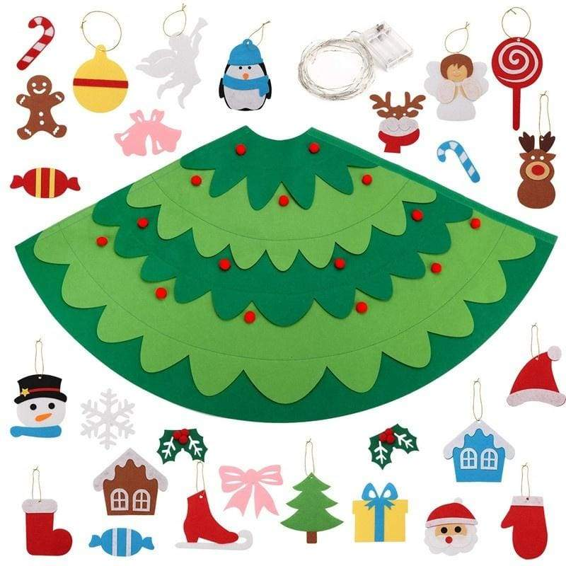 3D Felt Christmas Tree, 2.3Ft DIY Xmas Tree with 28PCS Detachable Ornaments and Light String Xmas Gifts for Kids Toddler Christmas Decoration