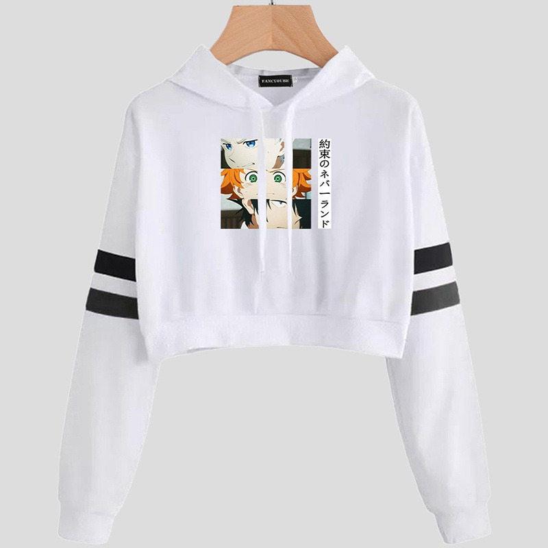 Anime The Promised Neverland Cropped Long Sleeve Hooded