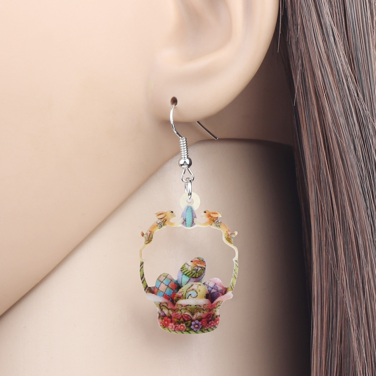 Acrylic Easter Eggs Bunny Floral Baskets Earrings Big Drop Dangle Jewelry Novelty Pendants Decoration Festival Accessories Gifts For Women Girls Teens Charm Trendy Ornaments