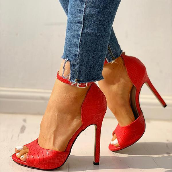 Bonnieshoes Party Peep-Toe Ankle Strap Thin Heels