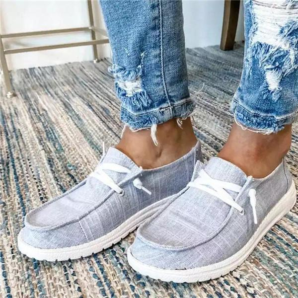 Twinklemoda Lace-Up Low-Cut Upper Round Toe Thread Flat With Sneakers