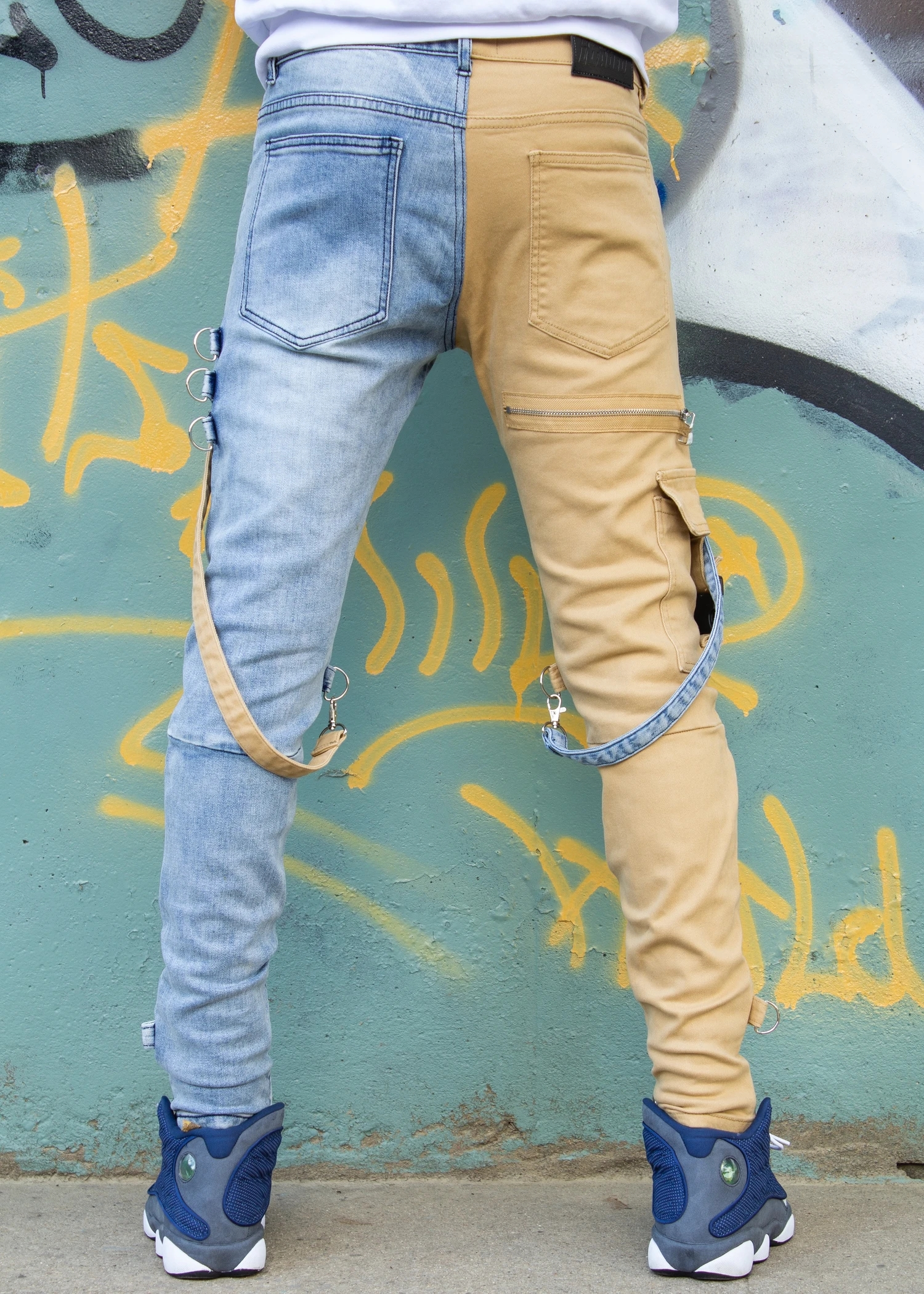 Locked and loaded jeans belt and stone denim and tan