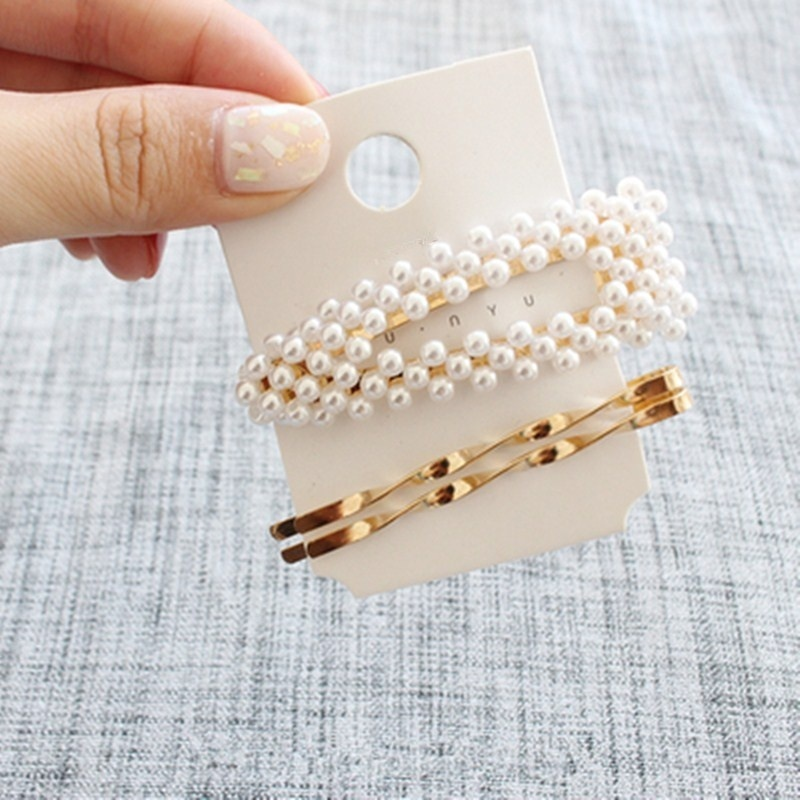 Metal Pearl hairpin combination very simple sweet wind bangs hairpin hairpin hairpin
