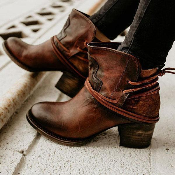 Zoeyootd Vintage Low Heel Ankle Casual Back-lace Boots