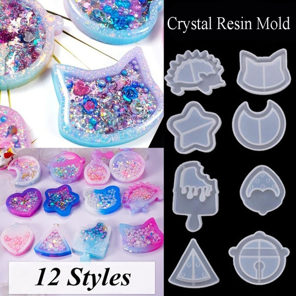 2PCS DIY Crafts Star Moon Cat Crystal Resin Mould Silicone Mold Jewelry Making UV Epoxy