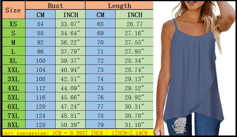 XS-8XL Women Summer Vest O-neck Sleeveless Tops Solid Color Sling Chiffon Off Shoulder Shirts Ladies Fashion Plus Size Casual Backless Camisole Loose Pleated T-shirt Tank Tops