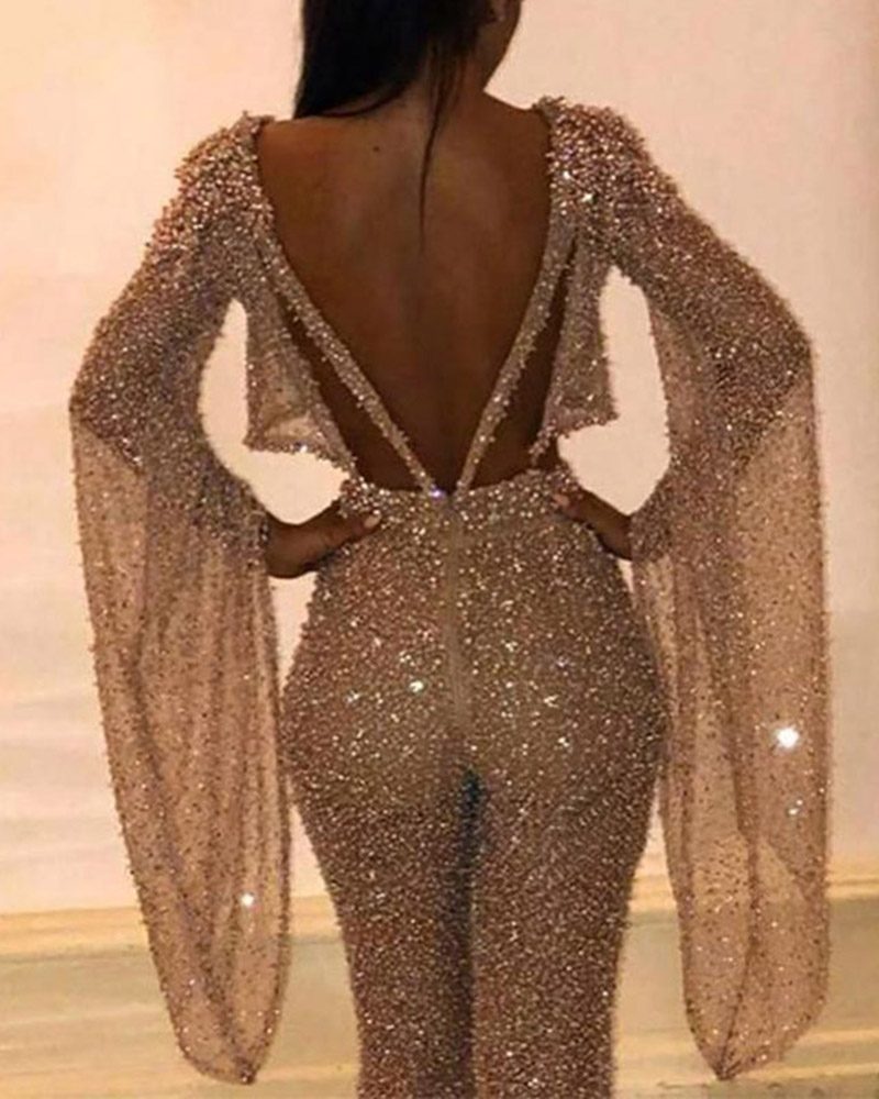Sequined Long Sleeve Slim Party Jumpsuit
