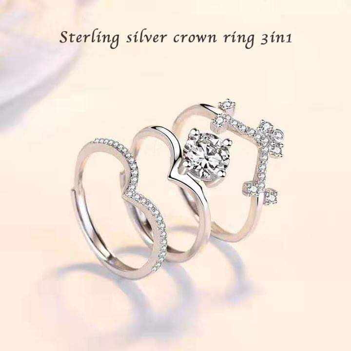 👑S925 3 in 1 crown ring-two different materials👑